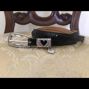 Brighton Leather Heart Charm Belt Brown M/30